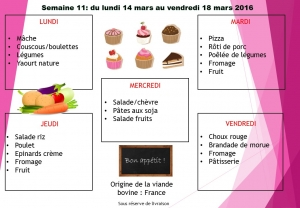 menu semaine 11 2016