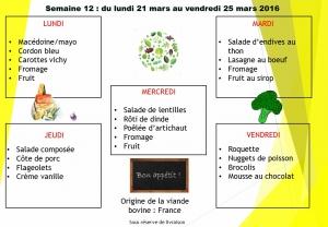 menu semaine 12 2016