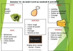 menu semaine 14 2016