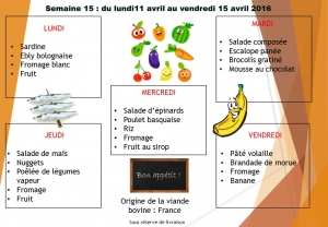 menu semaine 15 2016