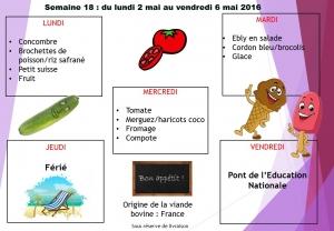 menu semaine 18 2016