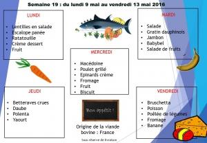 menu semaine 19 2016