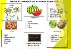 menu semaine 20 2016