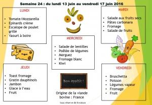 menu semaine 24 2016