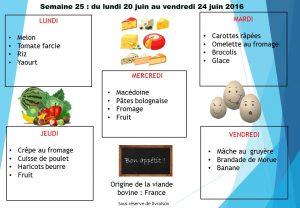 menu semaine 25 2016