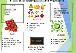 menu semaine 26 2016
