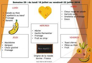 menu semaine 29 2016