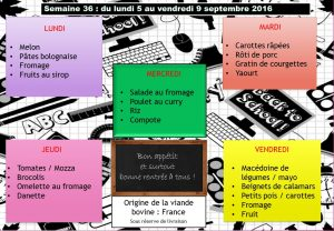 menu semaine 36 2016