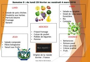 menu semaine 9 2016