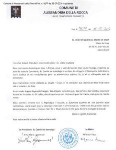 lettre de M. Alfonso Frisco